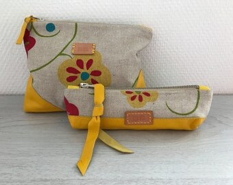 Leather and cotton pencil case and purse - yellow