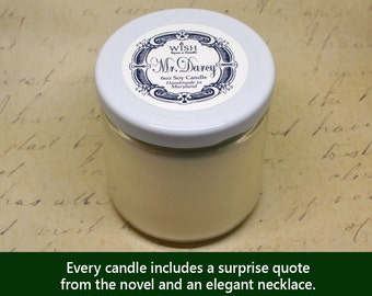 Mr. Darcy | Soy Vegan |  Pride and Prejudice | Jane Austen Book Candle | Surprise Necklace