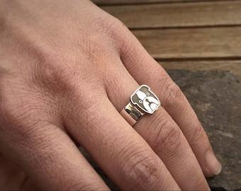 ENGLISH BULLDOG Ring • Bulldog Jewelry • Dog Paw Ring • Paw Print Ring  • Dog Ring • Silver Ring • Bulldog Jewelry