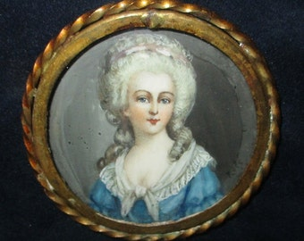 Antique French Miniature Portrait Watercolor Painting 19th Century Aristocrat Lady Marquess Signed Framed