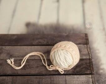 BUTTERCREAM Newborn girl bonnet; newborn prop; merino bonnet;
