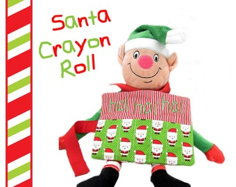 Santa Personalized Crayon Roll, Stocking Stuffer, Kids Christmas Gift, Kids Stocking Stuffer, Crayon Holder Rollup, Christmas Party Favor