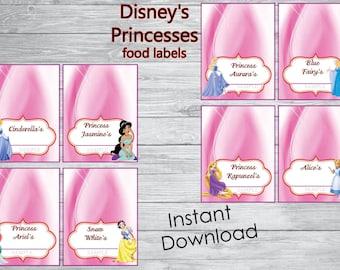Instant Download - Disney's princesses food labels -  Disney's princesses Birthday ,Disney's princesses Label, Disney party
