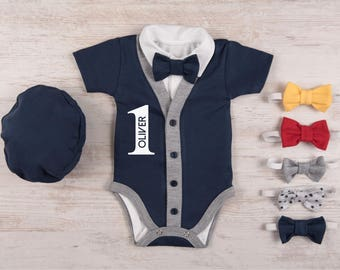 FIRST BIRTHDAY Outfit Boy, Personalized Short Sleeve Navy Cardigan, Bodysuit, Hat & Bow Tie Set, 1st Birthday Boy Outfit, Bow Tie Cardigan