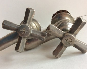 Pair of Mid century nickel faucets. Reclaimed nickel faucets with cross handles. Salvaged nickel water faucet.