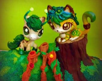 Lps custom cat horse Druids forest keepers bonus 3 magic wooden staff