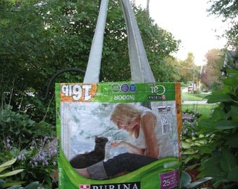 Upcycled/Recycled Reusable Cat Food Sack Tote Shopping Bag