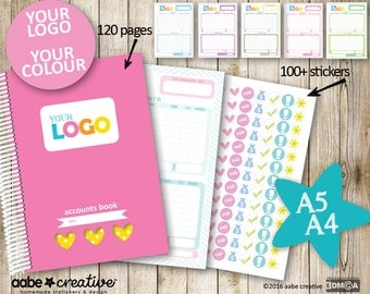 Deluxe Custom Accounts Book - 6 page designs to choose from