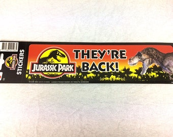 Jurassic Park Bumper Sticker - Vintage 1992 - Tyrannosaurus Rex