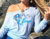 Blue Mermaid Flowy Long Sleeve Off Shoulder Tee made in Santa Cruz CA