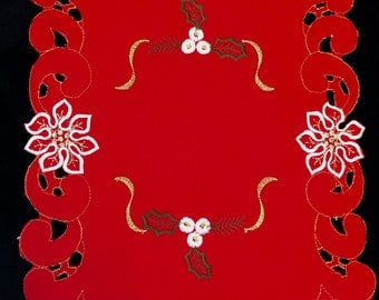 Doily embroidered Red satin