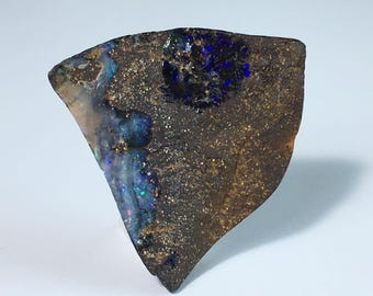 Boulder Opal 32ct Boulder Opal Cabochon Purple Fire Rough Surface Flat Back Focal Bead Wirewrapping Free Shipping