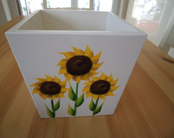 Hand Crafted and Hand Painted Sunflower Pot Plant Holder
