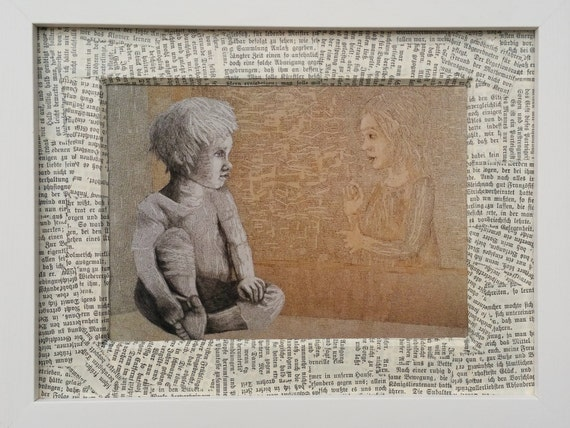 Book picture, a literary gift for book lovers, illustration with reading children, upcycling collage from book pages, art print, book pages