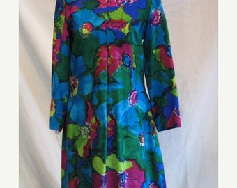 On Sale Vintage Late 60s A Line Sack Dress in Bold Jewel Tone Floral Cotton Blend