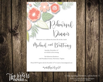 Spring Flowers Rehearsal Dinner Invitation - Printable Rehearsal Dinner Invitation
