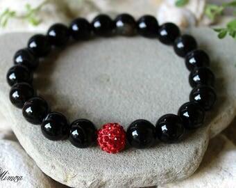 Black Agate Bracelet, 12mm Agate Bracelet, Brazilian Agate Bracelet, Agate Wrist Mala, Black Red Bracelet, Black Bead Bracelet, Agate
