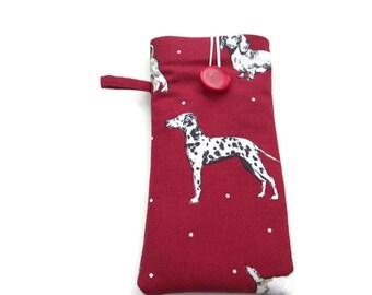 Dalmatian padded cell phone case. iPhone 5, 5C, 6 6S, 7, Samsung Galaxy S8 S6 S7, Galaxy Edge, Motorola sleeve, Sony Xperia, dog lover gift