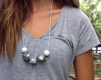 Wooden bead necklace // Cross equals love  // hand painted wooden bead necklace // white on grey