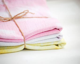 Pink, Light Purple & Yellow Shibori Style Tea Towel