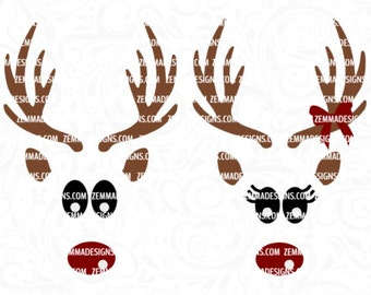 Reindeer face svg - Reindeer svg - Christmas svg - svg christmas files, Christmas shirt svg, reindeer svg files, Christmas clipart, woodland