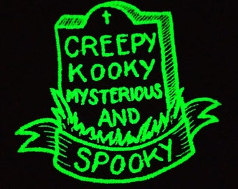 Spooky Glow Patch Addams Family Inspired Creepy Kooky Mysterious & Spooky Horror Geek Grave Tombstone Scary Gothic Embroidered Badge