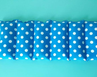 Rice bag / blue and white polka dot   / rice heating pad / pain relief/  heat and cold therapy pack / relaxation/  microwavable