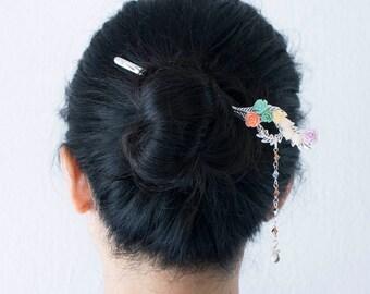 Swan Queen handmade silver hair sticks, hair chopstick, hair pin bookmark with pastel rose flower