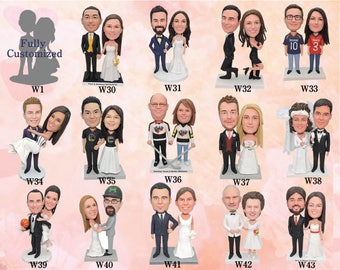 Mr and Mrs Cake Topper - Custom Cake Topper for  Wedding Cake - Custom Bobblehead dolls