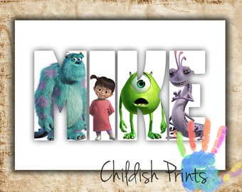 personalised MONSTERS INC character name art gift idea printable - sully mike boo randall roz