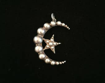 victorian moon and star pendant necklace