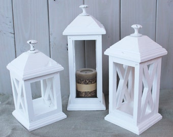 Rustic lantern - rustic lighting - wooden lantern - wedding lantern - set of 3 lanterns - rustic decor - rustic wedding decor - centerpiece