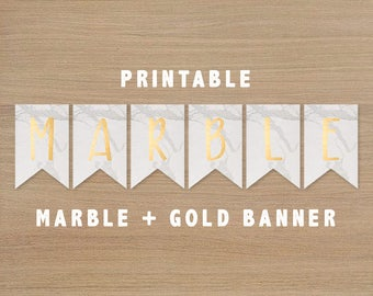 Printable Marble Gold Banner Bunting Flags