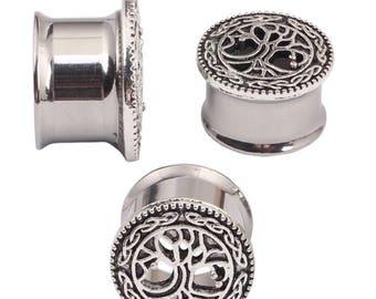 New Design Silver Tree Of Life Ear Plug Tunnel Ear Flesh Tunnels Gauge Plugs BN