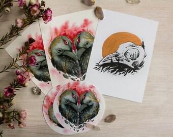 Raven Heart Postcard and Sticker Set with Custom Illustration