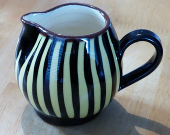 1950's 'Milton Head Pottery' (Brixham) Yellow & Black Striped Cream/Milk Jug