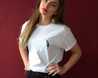 Embroidered Feather on white tee