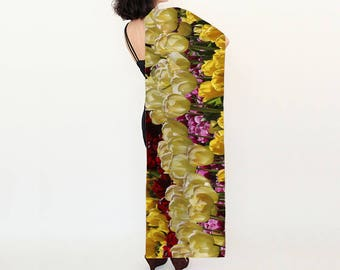 Long Silk Scarf/ Shawl/ Wrap/ Coverup with Field of Tulips, Keukenhoff Gardens Netherlands