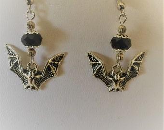 Bat Silver Tone Pierced Earrings