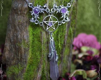 Pentagramm necklace, pentagram pendant, pentacle, gothic necklace, elven necklace with amethyst, pagan jewelry
