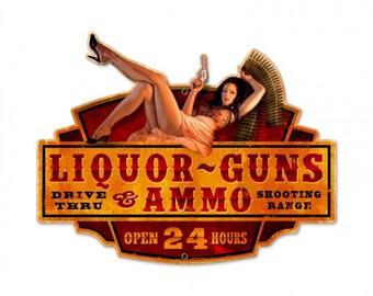 """Metal Sign """" Liquor Guns Ammo Pin Up Girl """" 20""""x16"""" Man Cave"""