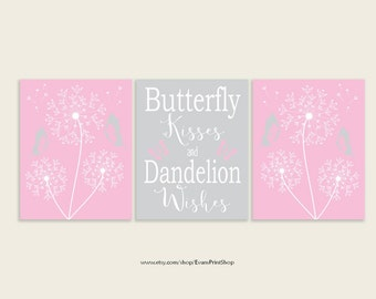 Pink and Gray Nursery Art - INSTANT DOWNLOAD - Butterflies & Dandelions Set of 3 - 8x10 - digital art - Butterfly Kisses Dandelion Wishes