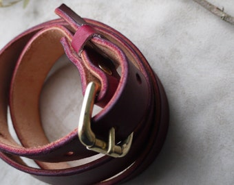 Oxblood hand-dyed leather belt with brass buckle. 1inch.  Handmade in England