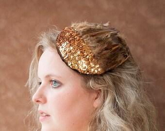 Fascinator Gold Federn