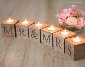 Mr et Mme maison décoration cadeau de mariage pour le couple cadeau rustique en bois de porte bougie le couple Candle Holders Decor confortable maison cadeau pour la mariée