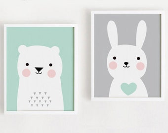 Printable Nursery Art Set of 2 Poster Baby room Wall art Kids room decor Mint and Gray Bear Bunny Print 8x10, A4, A3, 40x50 INSTANT DOWNLOAD