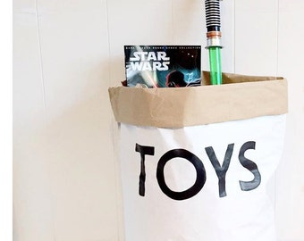 TOYS // white paper bag. Hand painted, storage of toys, books...