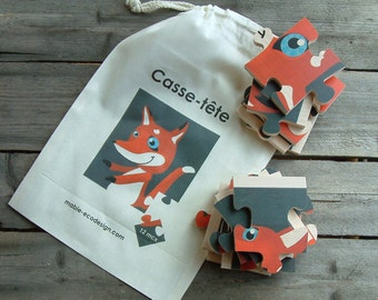 magnetic fox puzzle, wooden toys, gift idea, child gift, made in quebec canada, Mabie Ecodesign
