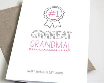 No. 1 Great Grandma CARD / Happy Mother's Day / Funny / Pink and Grey / 5x7 Folded Card – Printable DIY, Instant Download