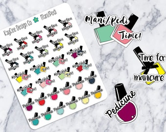 Manicure & Pedicure Trackers / Planner Stickers / Hand Drawn / Tracking / Erin Condren / MAMBI / Filofax / Kikki K / Scrapbook